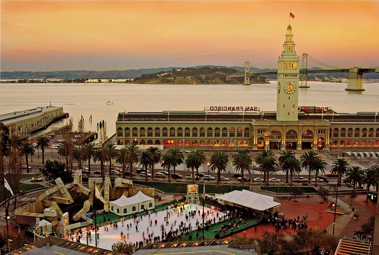 Sunset view of The Holiday Ice Rink at Embarcadero Center│ Courtesy of Embarcadero Center
