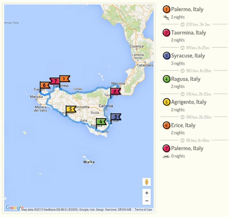 Sicily Exploration Itinerary   © RoutePerfect.com