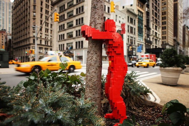 'Hugman,' Street Art Installation, New York City | Image Courtesy of Nathan Sawaya