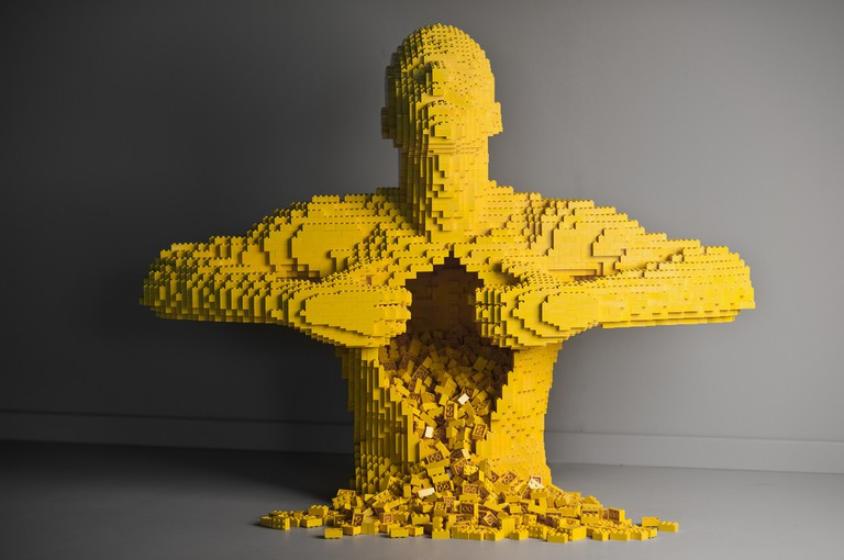 'Yellow,' Plastic Bricks, 28 x 35 x 19 in., Human Condition Collection | Image Courtesy of Nathan Sawaya