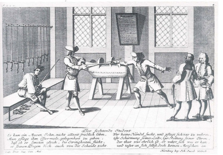 Academic fencing, etching from 1725 |© Rabe!/WikiCommons