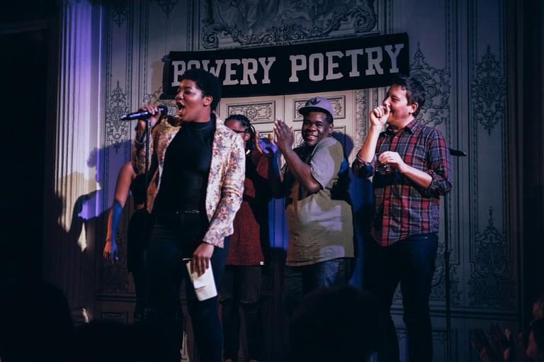 Ashley August Hosts Bowery Slam at Bowery Poetry | © Nicole Fara Silver