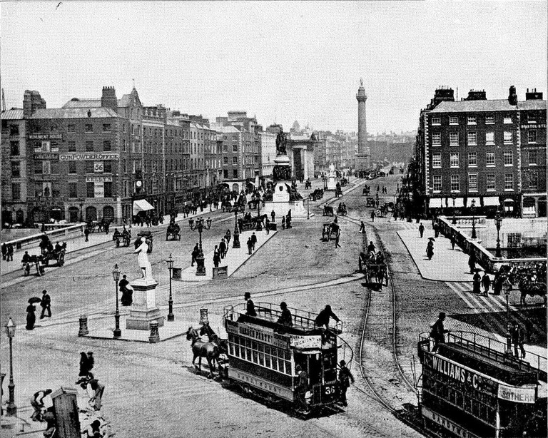 O'Connell Bridge and O'Connell Street, Dublin, Ireland | Courtesy of WikiCommons, image is in the public domain in Untied States
