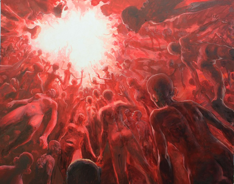 Detail of one of Enric Sant's oil paintings   Courtesy of Enric Sant