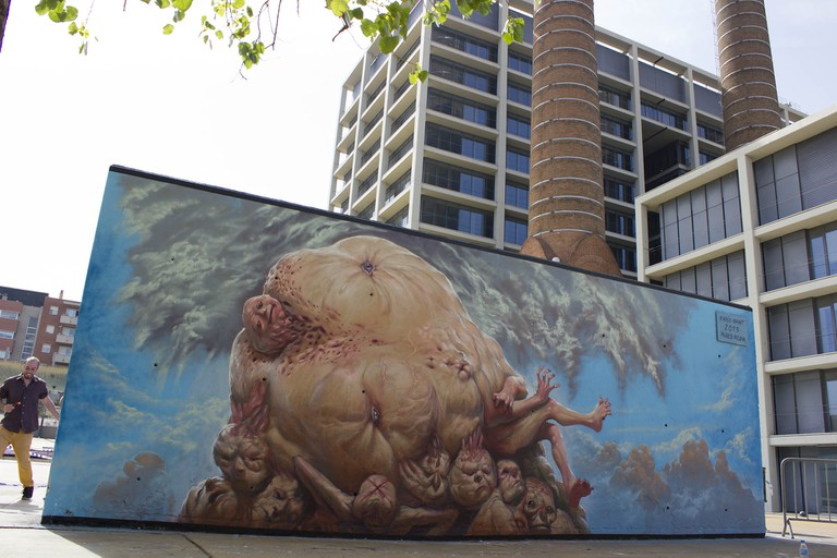 The controversial mural in Paral·lel   Courtesy of Enric Sant