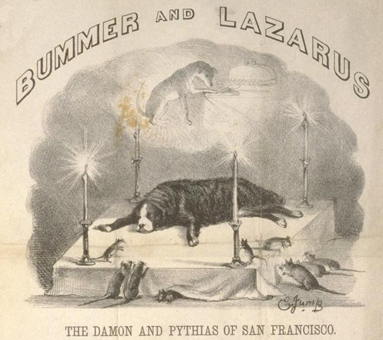 A cartoon of Bummers death, Lazarus (who had died a few years earlier) is seen above and local rats are seen giving their respects, Edward Jump @ Wikipedia Commons