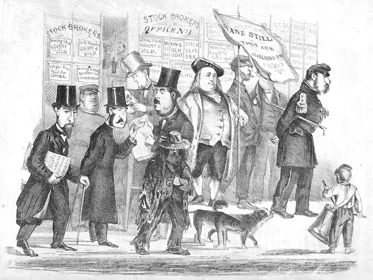 'Ambling along Montgomery Street', Coombs is the portly figure in the center of the picture, Edward Jump @ Wikipedia Commons