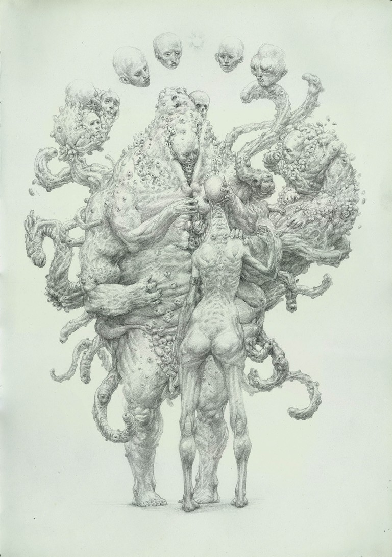 A drawing from the series The Guardians of Men   Courtesy of Enric Sant