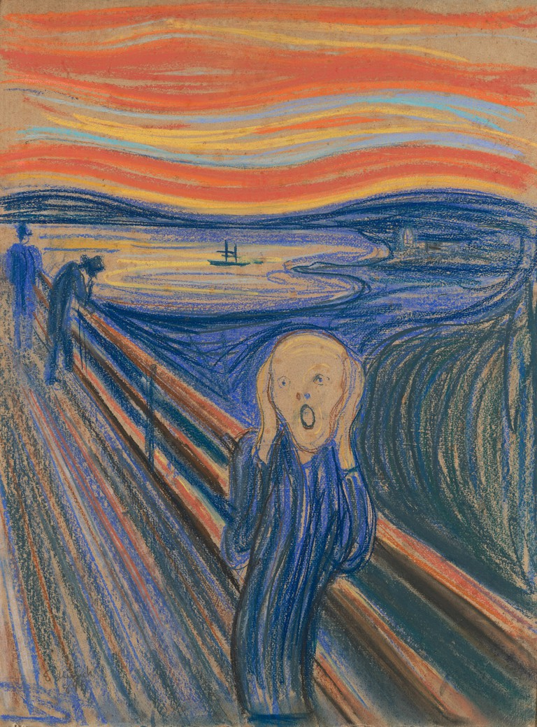 Edvard Munch (1863-1944) The Scream, 1895 Pastel on board in the original frame 79 x 59 cm (31 1/8 x 23 ¼ in.) Private Collection © 2016 Artists Rights Society (ARS), New York