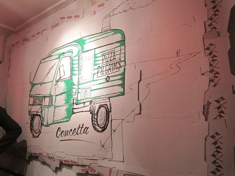 "The Ape Car ""Concetta"" has became the symbol of Pizza Pilgrims 