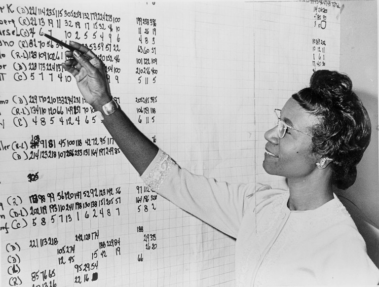 Shirley Chisholm, Congresswoman from New York, looking at list of numbers posted on a wall  © Roger Higgins, World Telegram staff photographer - Library of Congress. New York World-Telegram & Sun Collection/wikicommons