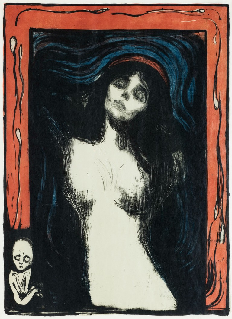 Edvard Munch (1863-1944) Madonna, 1895/1912-13 Colored lithograph in black, red and light olive green, and sawn woodblock or stencil in blue on light golden Japan paper 60 x 44 cm (23 5/8 x 17 3/8 in.) Collection of Catherine Woodard and Nelson Blitz, Jr. © 2016 Artists Rights Society (ARS), New York
