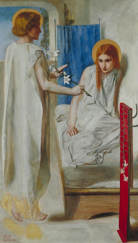 Rossetti, Ecce Ancilla Domini!, Support: 724 x 419 mm, Frame: 1002 x 698 x 88 mm, Tate Britain, 1849-50 | © DecoetzeeBot/WikiCommons