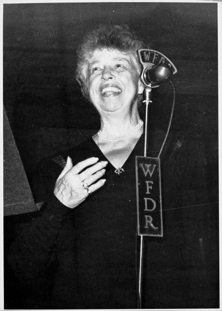 Eleanor Roosevelt speaks into a WFDR microphone.  © Kheel Center/flickr