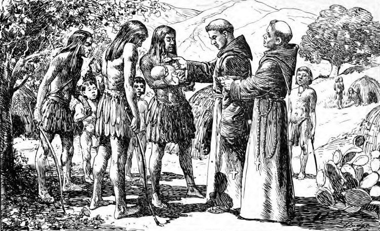 A Missionary performing a baptism on a California native/Unknown Author @ Wikipedia Commons
