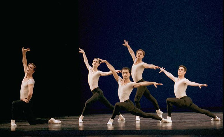 Pacific Northwest Ballet company dancers in STRAVINSKY VIOLIN CONCERTO, choreographed by George Balanchine © The George Balanchine Trust. Photo by Angela Sterling