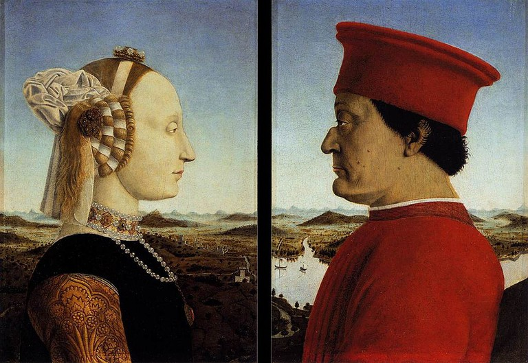 Figure 3, Portraits of Federico da Montefeltro and His Wife Battista Sforza by Piero della Francesca at the Uffizi Gallery, Florence, 1472, | Sailko/WikiCommons