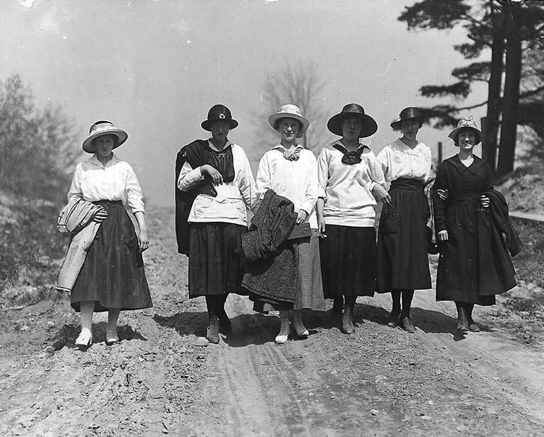 Women walking on Eglinton Avenue, Toronto, 1912   Public Domain / Photo by William James