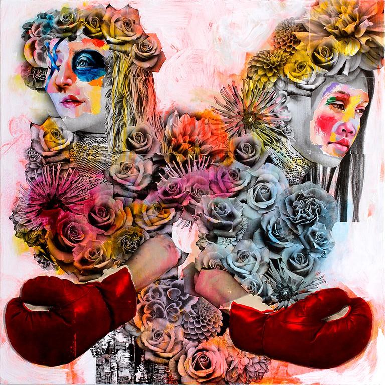 AM DeBrincat, Grafted Tree, xerox transfer print, acrylic, oil paint on canvas | © AM DeBrincat