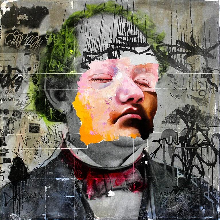 AM DeBrincat, Professor, xerox transfer print, spray paint, acrylic, oil paint on canvas | © AM DeBrincat