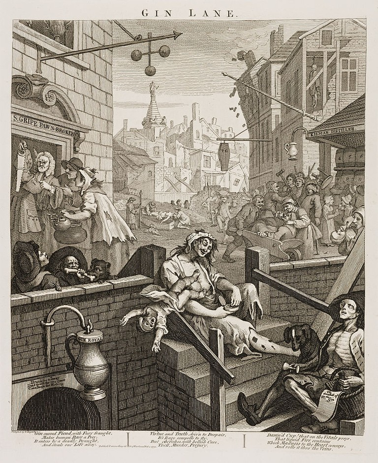 Hogarth, Gin Lane, 374 x 318 mm, British Museum, 1751 | © Yomangani/WikiCommons