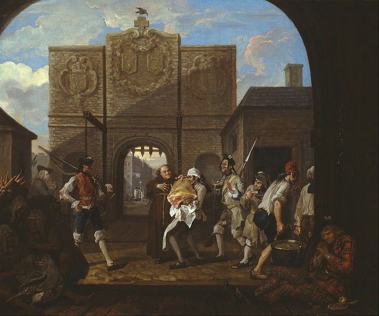 Hogarth, O the Roast Beef of Old England ('The Gate of Calais'), 788 x 945 mm, Tate Britain, 1748 | © DcoetzeeBot/WikiCommons