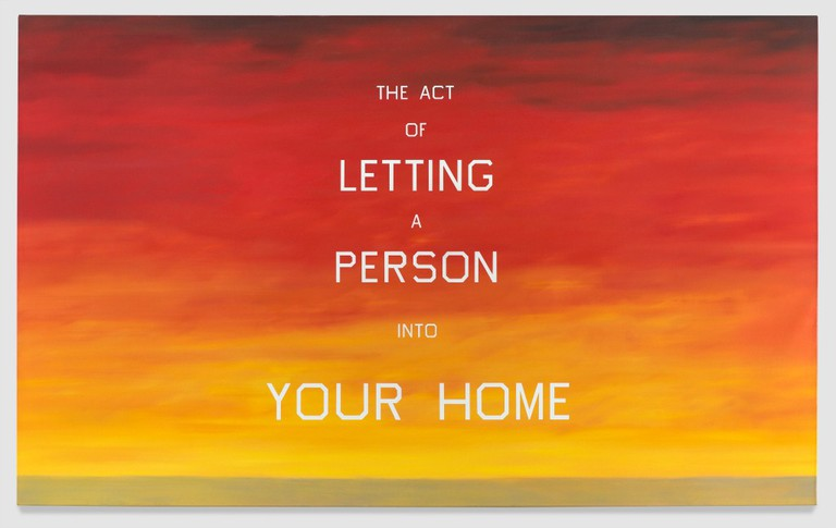 Ed Ruscha, The Act of Letting a Person into Your Home, 1983. Oil on canvas, 84 x 1375⁄8 inches. The Whitney Museum of American Art. Partial and promised gift of Emily Fisher Landau