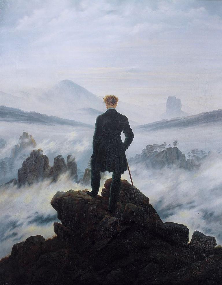 Friedrich, Wanderer above the Sea of Fog, 98.4 x 74.8 cm, Kunsthalle Hamburg, c. 1817   © Cybershot800i/WikiCommons