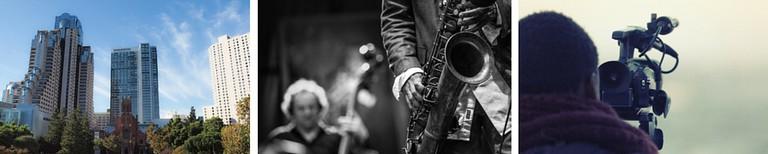 Yerba Buena Gardens | © Franco Folini/Flickr / Jazz © Jimmy Baikovicius/Wikipedia / Video Camera © Pixabay