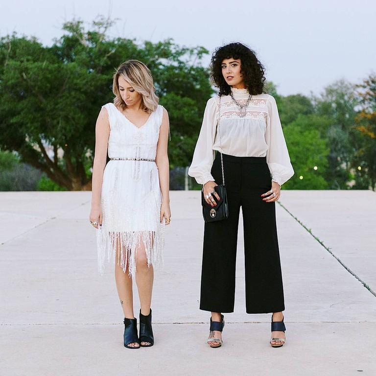 Angel Fiben and designer, Karin Zalait   Courtesy of Yupka Fashion blog