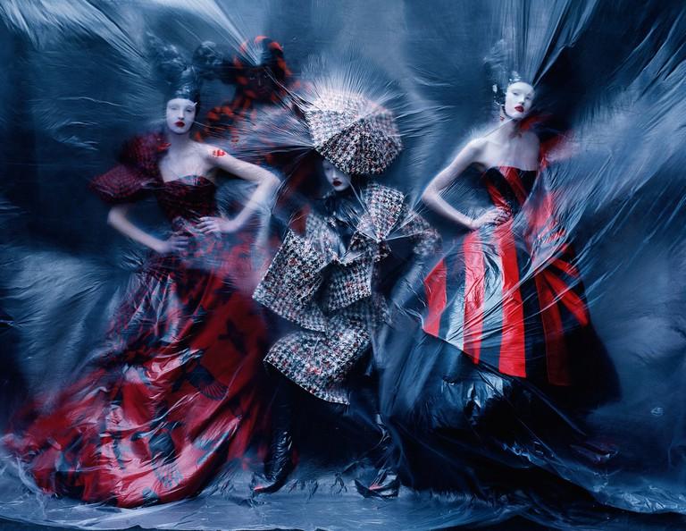 """Dark Angel"" | Nastya Sten, Aya Jones, Yumi Lambert & Harleth Kuusik (in Alexander McQueen from the Autumn-Winter 2009 'Horn of Plenty' collection) by Tim Walker for ""British Vogue"" - February, 2015 | © Ŧhe ₵oincidental Ðandy/Flickr"