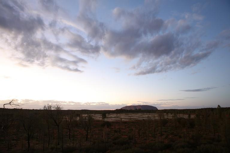 Field Of Light Uluru Set In The Remote Desert Against A Backdrop Of The  Magnificent Uluru