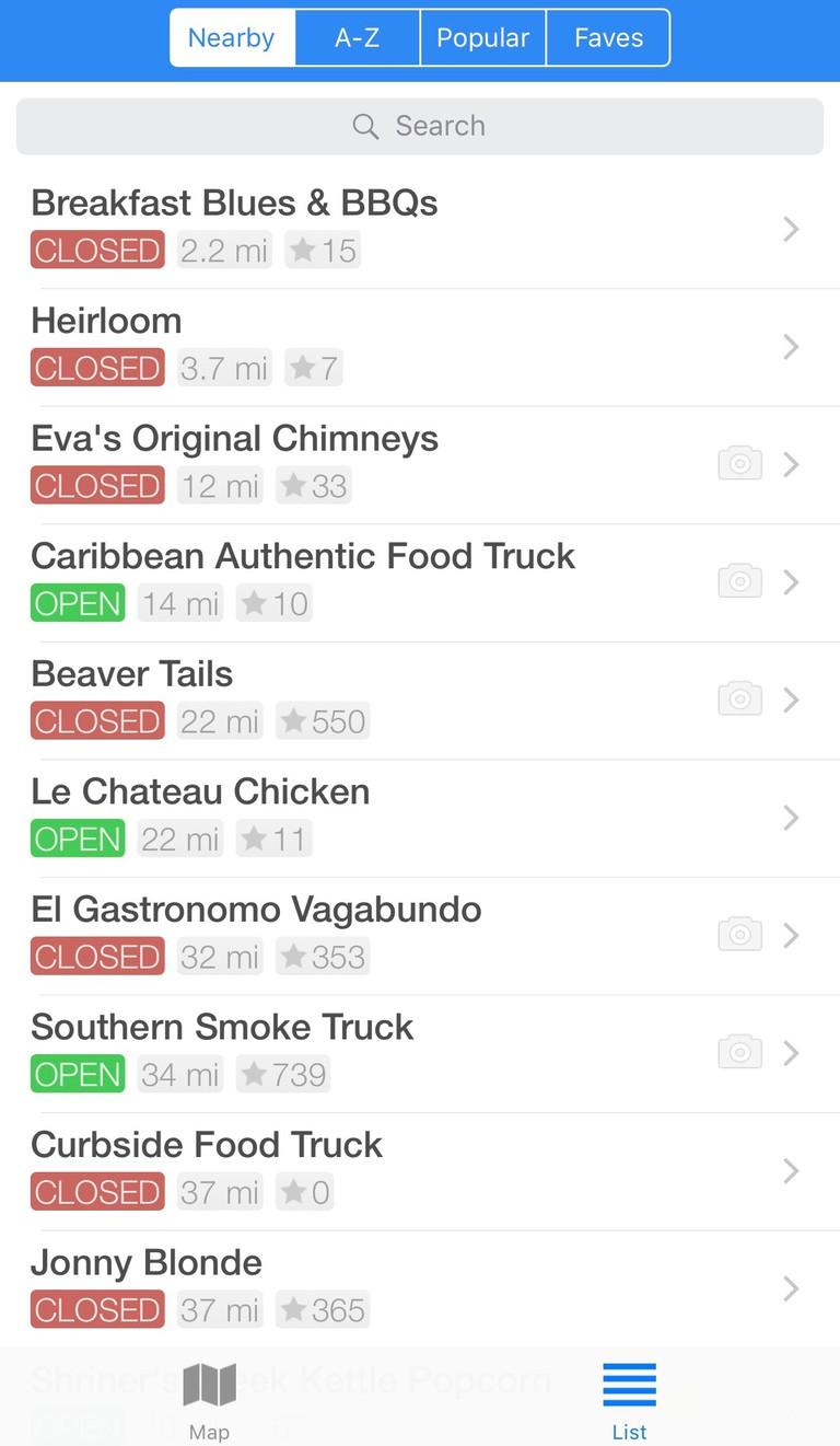 Screenshot of Street Food Toronto App