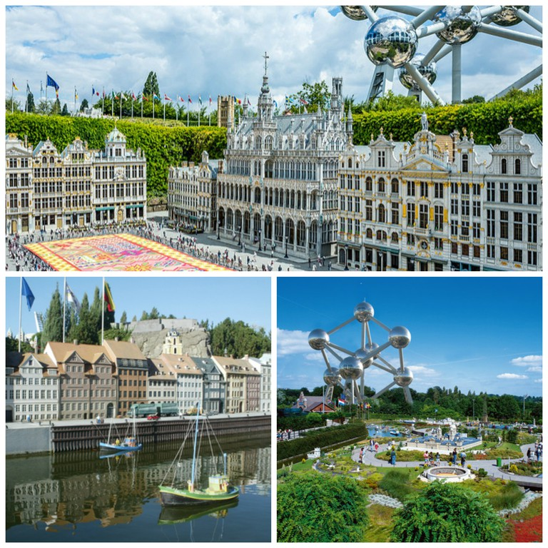 A miniature Grand Place with tiny Brusseleirs | © Sergej/Flickr; A Mini-Europe harbor | © Mini-Europe, Courtesy of www.visitbrussels.be; The whole theme park at the foot of the real Atomium | © Mini-Europe, Courtesy of www.visitbrussels.be
