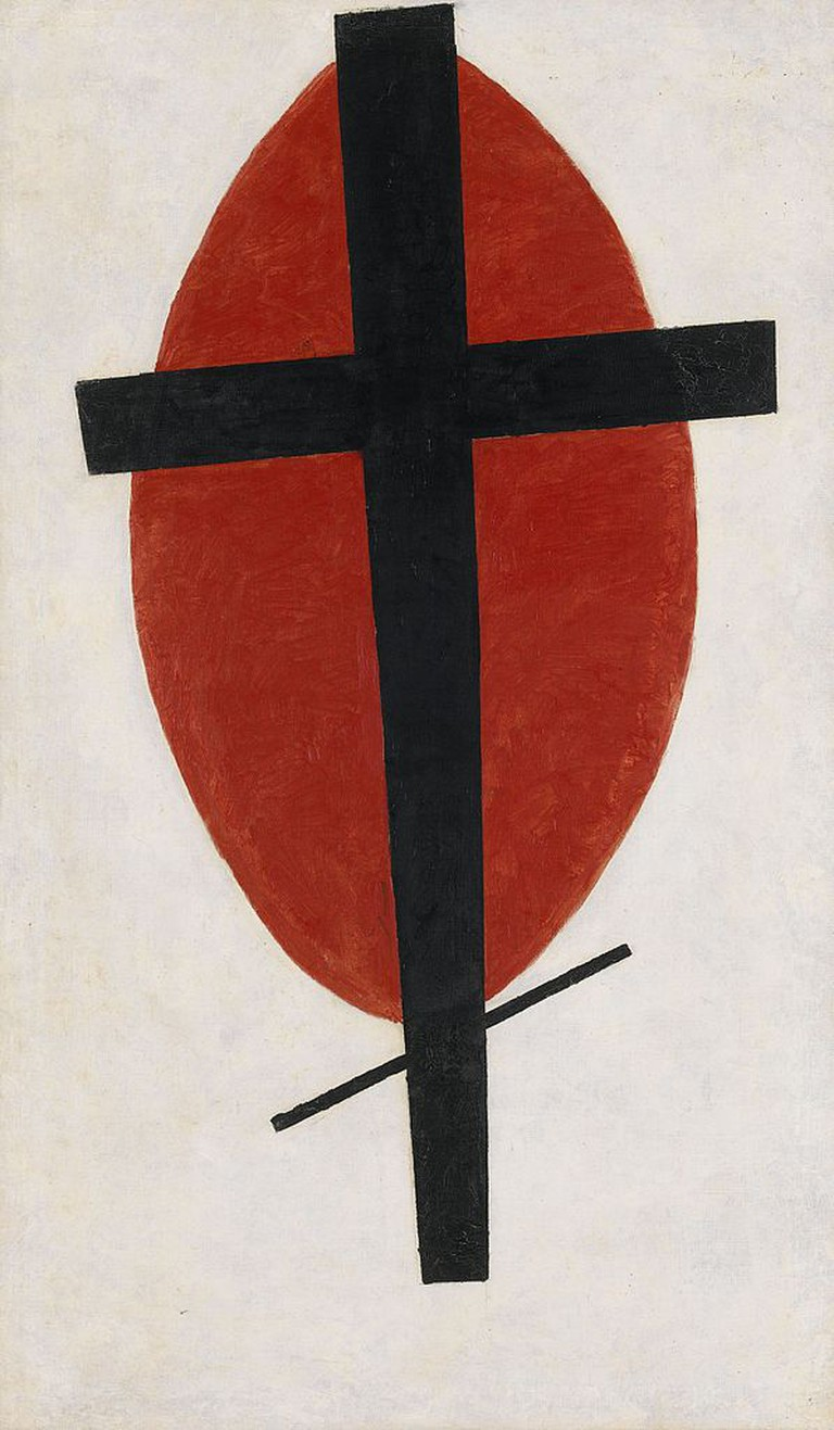 Kazimir Malevich, Mystic Suprematism (Black Cross on Red Oval), 100.2 x 59.2 cm, Private Collection, 1920-22 | © Sasha Krotov/WikiCommons