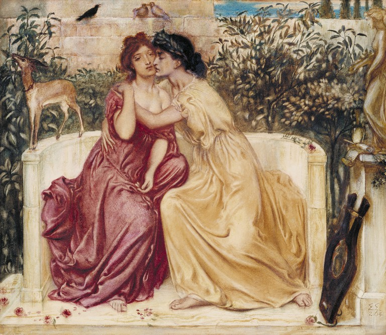 Sappho and Erinna in a Garden at Mytilene by Simeon Solomon, 1864, watercolour on paper | Courtesy of Tate