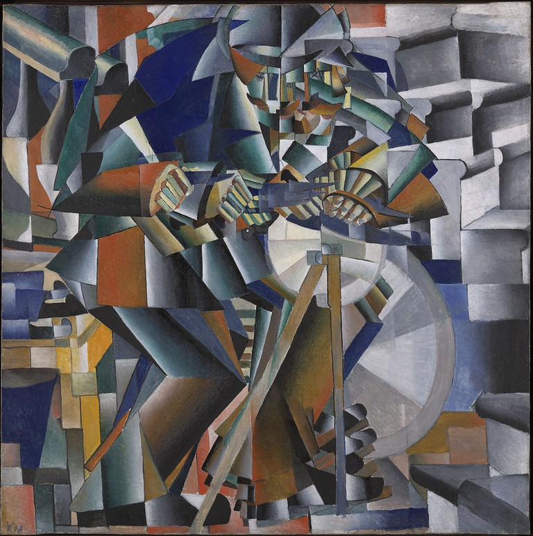 Kazimir Malevich, The Knife Grinder (Principle Glittering), 79.5 x 79.5 cm, Yale University Art Gallery, 1912-13 | © Coldcreation/WikiCommons