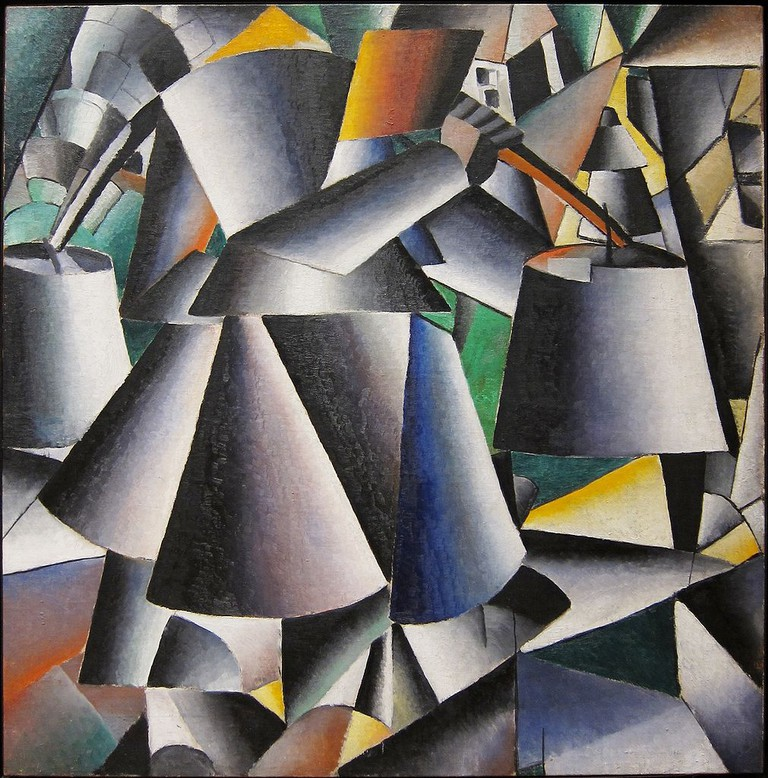 Kazimir Malevich, Woman with Pails: Dynamic Arrangement, 80.3 x 80.3 cm, Museum of Modern Art, 1912-13 | © Velvet/WikiCommons