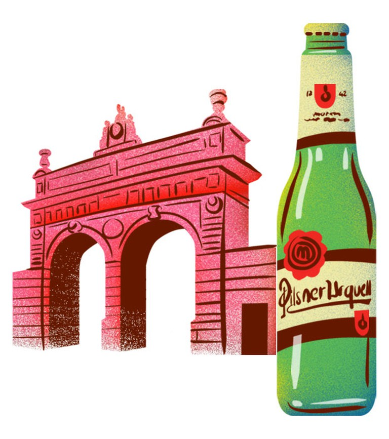 Pilsner, with the iconic gate to the brewery | © Eating Prague Tours