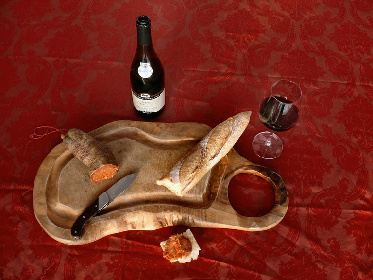 A selection of meat, bread and wine   © dynamosquito / Flickr