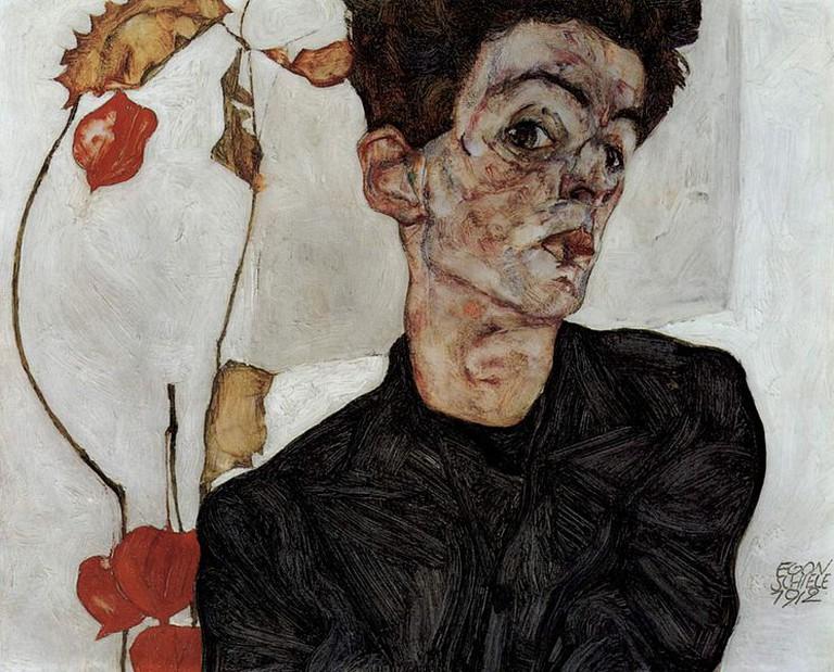 Selbstporträt mit Lampionfrüchten (1912)