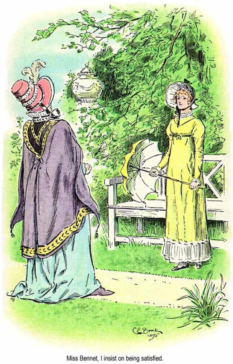 Elizabeth and Lady Catherine   © illustration by C.E.Brock / wikicommons