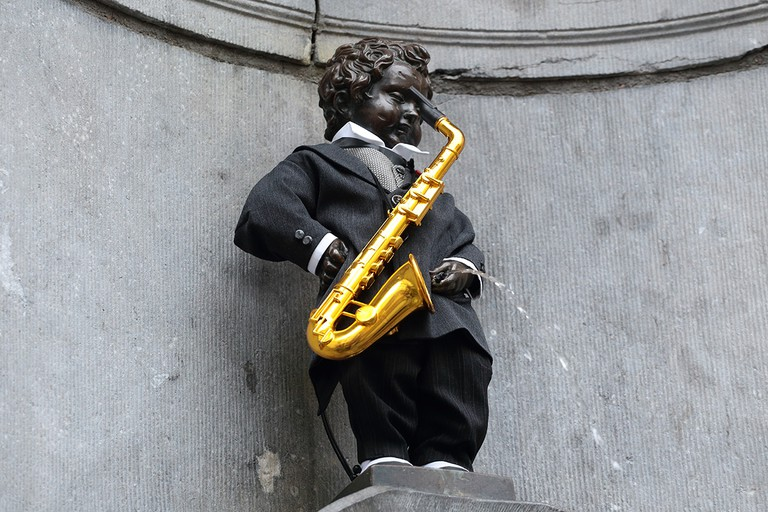 Manneken Pis as Adolphe Sax   WikiCommons