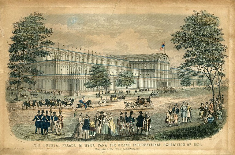 View from the Knightsbridge Road of The Crystal Palace in Hyde Park for Grand International Exhibition of 1851. Dedicated to the Royal Commissioners., London: Read & Co. Engravers & Printers, 1851| WikiCommons