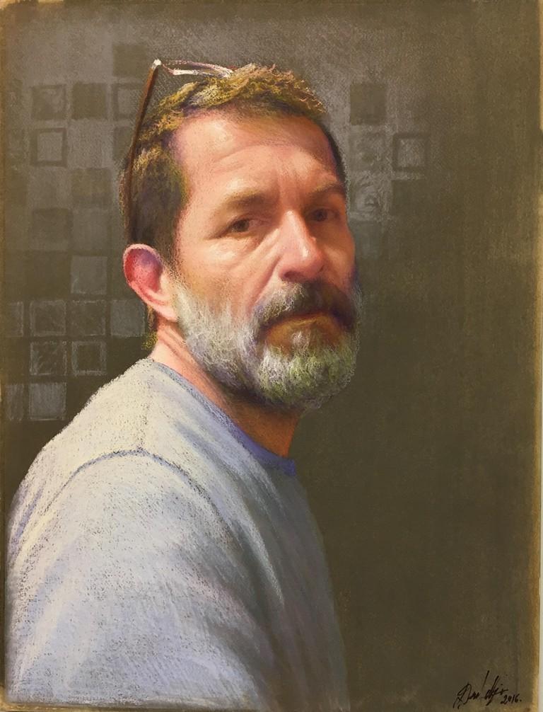 Self Portrait by David Nipo, 2016, Pastel on paper, 57 x 43 cm © David Nipo.