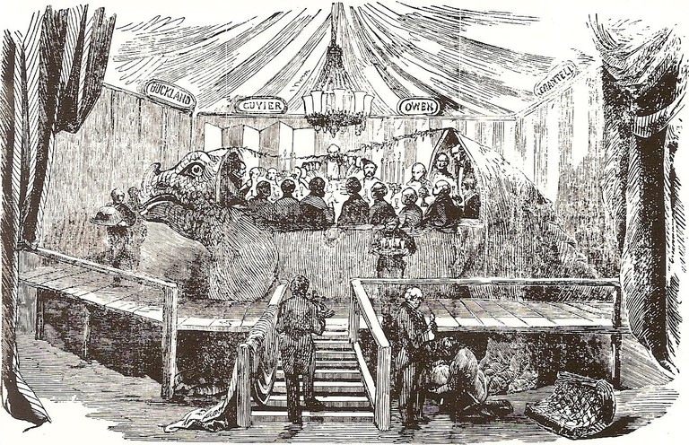 Woodcut of the banquet in Benjamin Waterhouse Hawkins' standing Crystal Palace Iguanodon | ©Unknown/WikiCommons