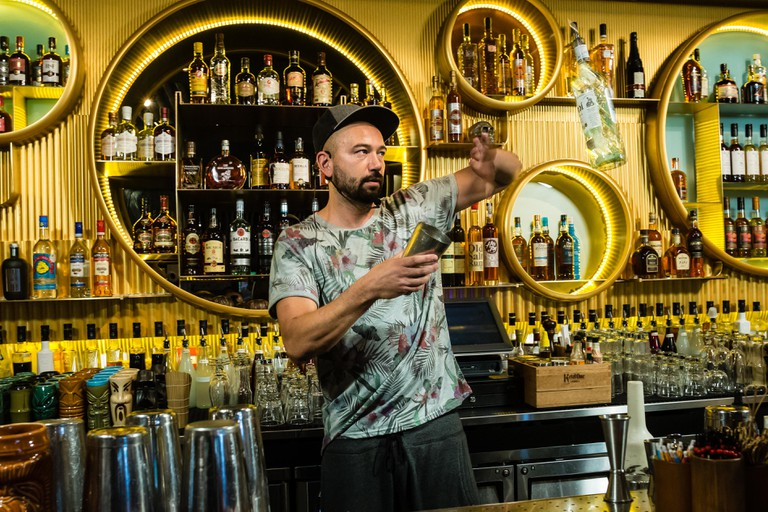 Nicolas St Jean, World Flair Bartender Champion working his magic © Photo courtesy of Hong Kong Rum Fest