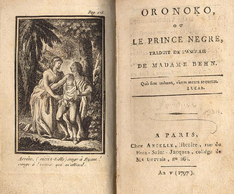 Title page and frontispiece of a 1797 French edition of Oroonoko | Wikimedia Commons