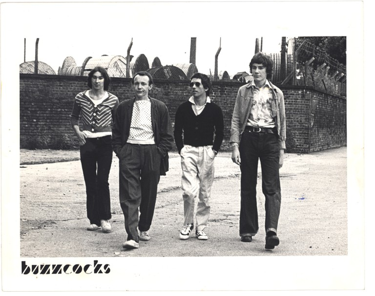 Photograph of Buzzcocks (1976). From England's Dreaming: The Jon Savage Archive held at Liverpool John Moores University | Courtesy of British Library