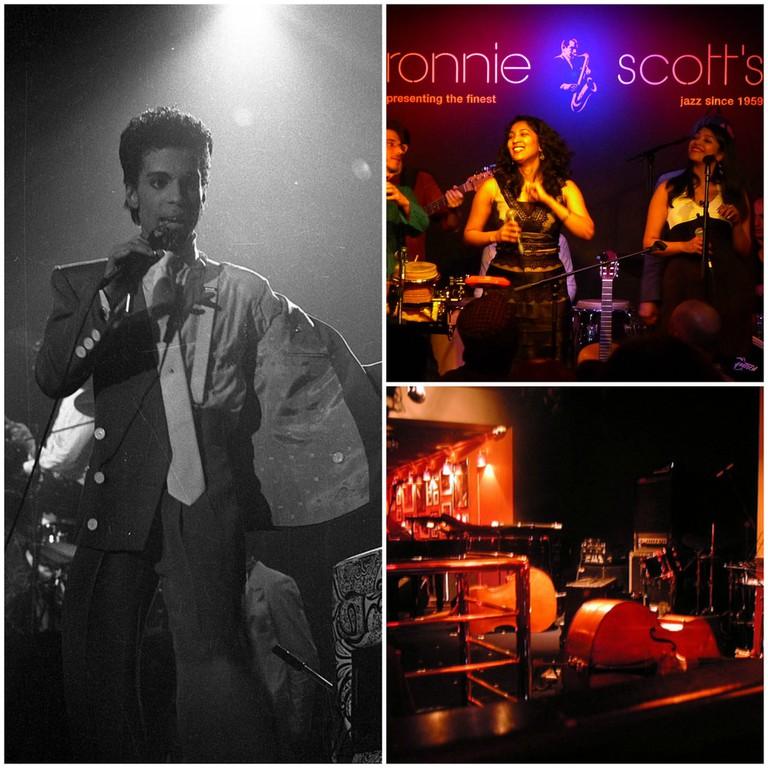 Prince |© Wikimedia Commons // Lokkhi Terra at Ronnie Scott's |© Wikimedia Commons // Ronnie Scott's Jazz Club | © Kim S / Flickr
